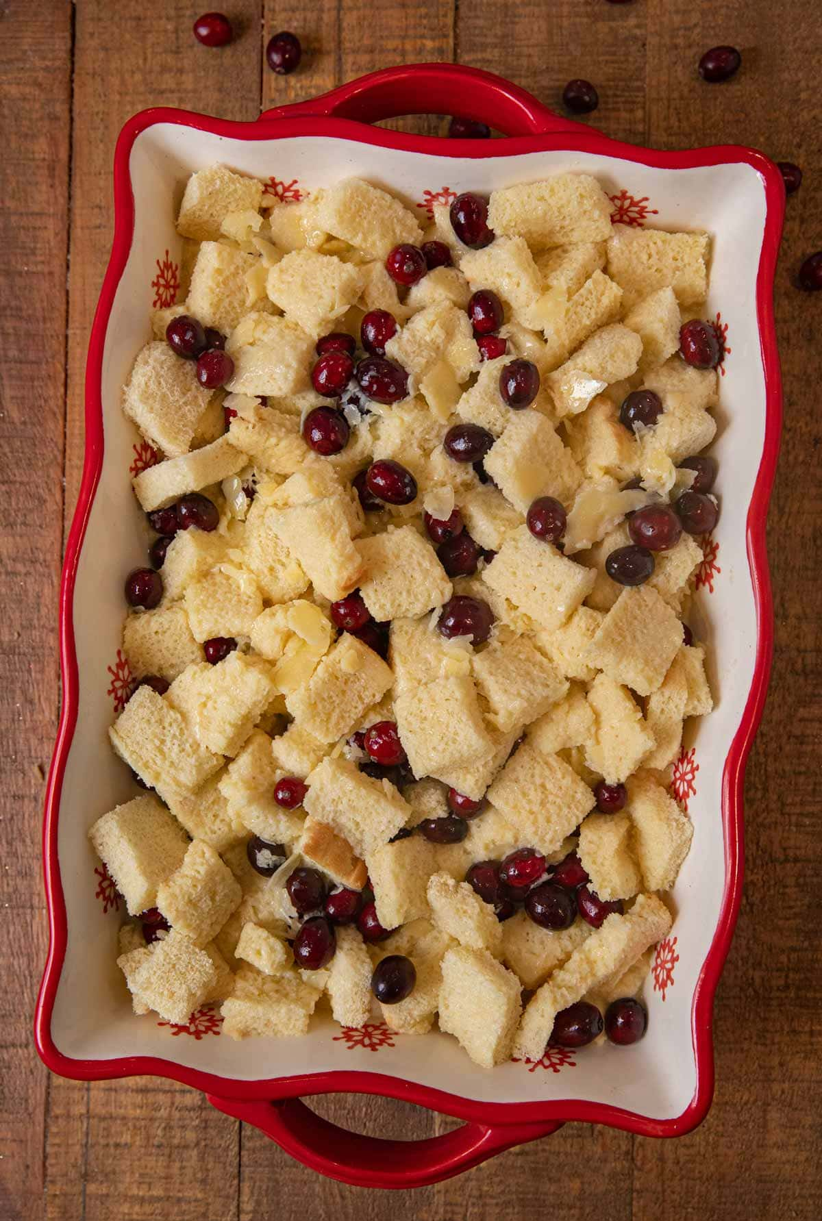 Cranberry Bread Pudding in baking dish before baking