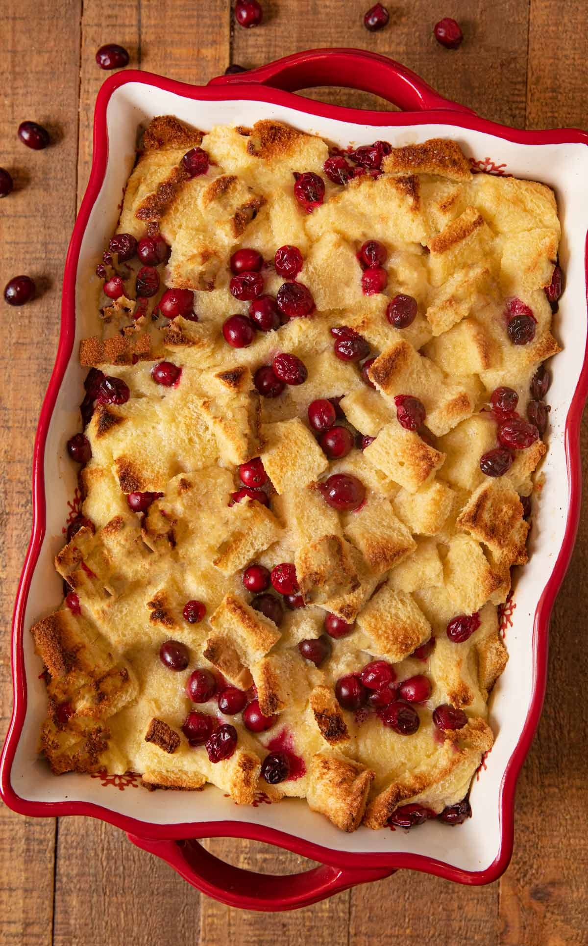 Cranberry Bread Pudding in baking dish