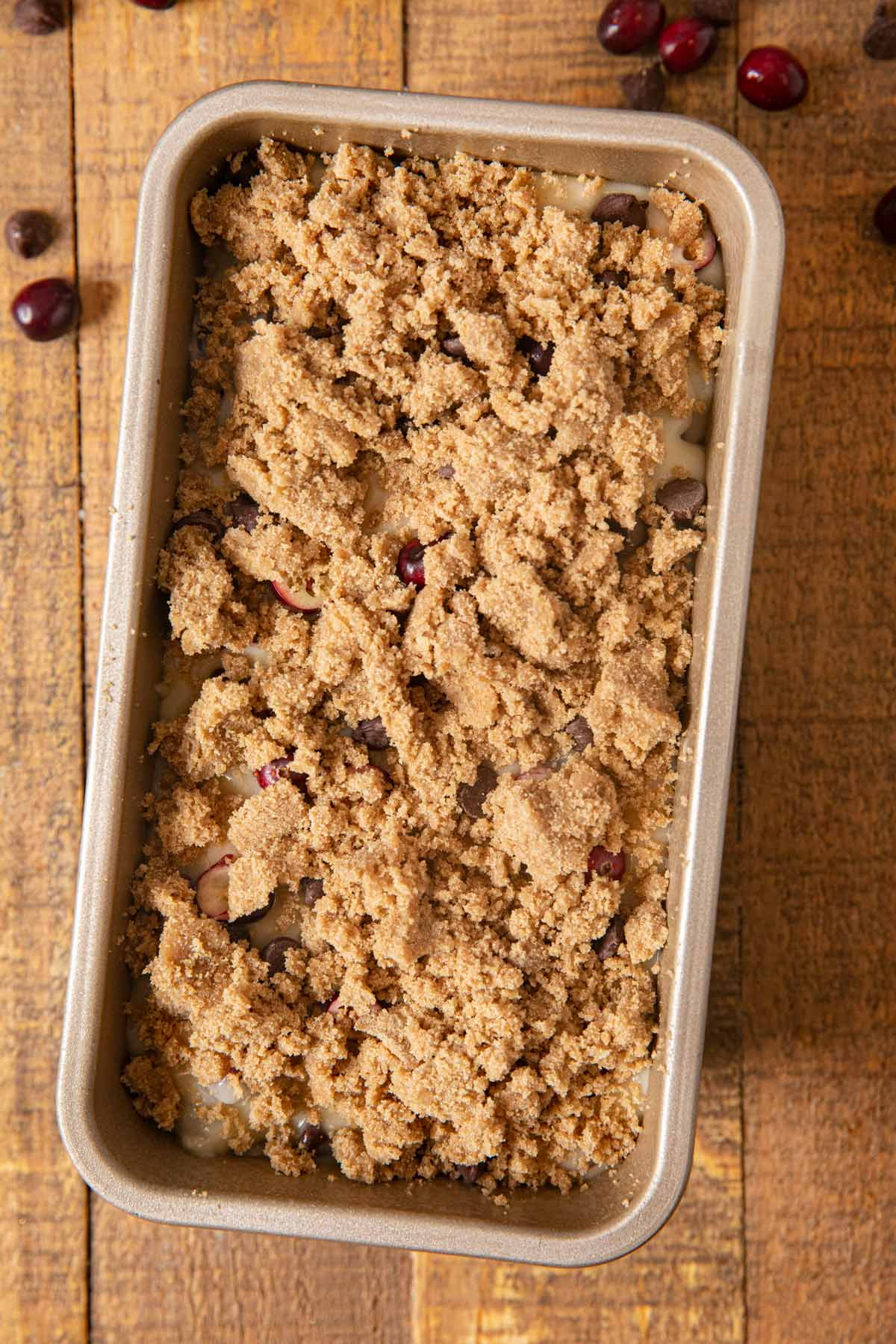 Cranberry Chocolate Chip Bread dough in loaf pan