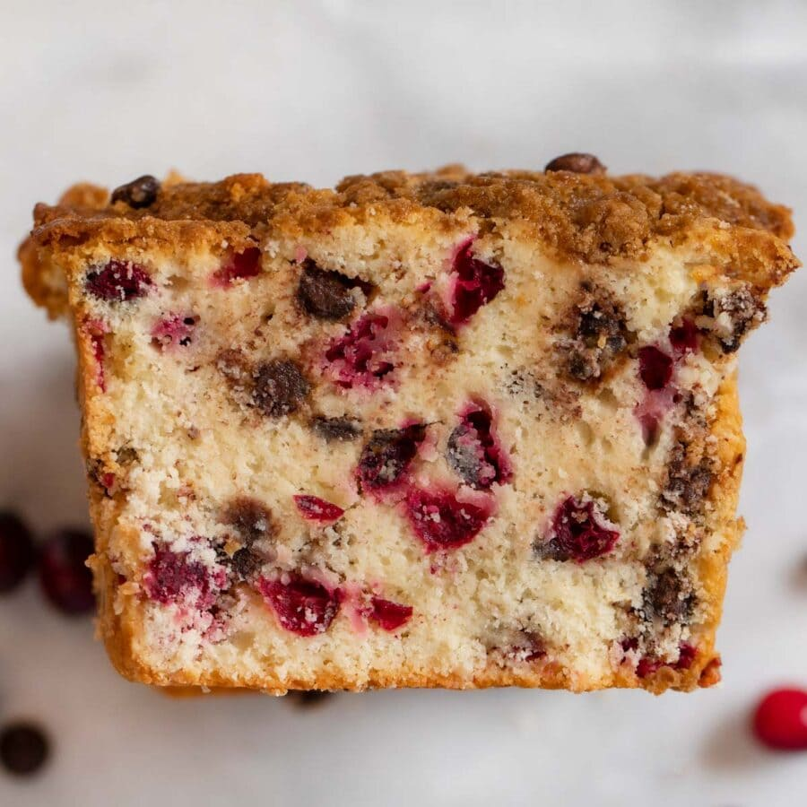 top-down view of Cranberry Chocolate Chip Bread slices in stack