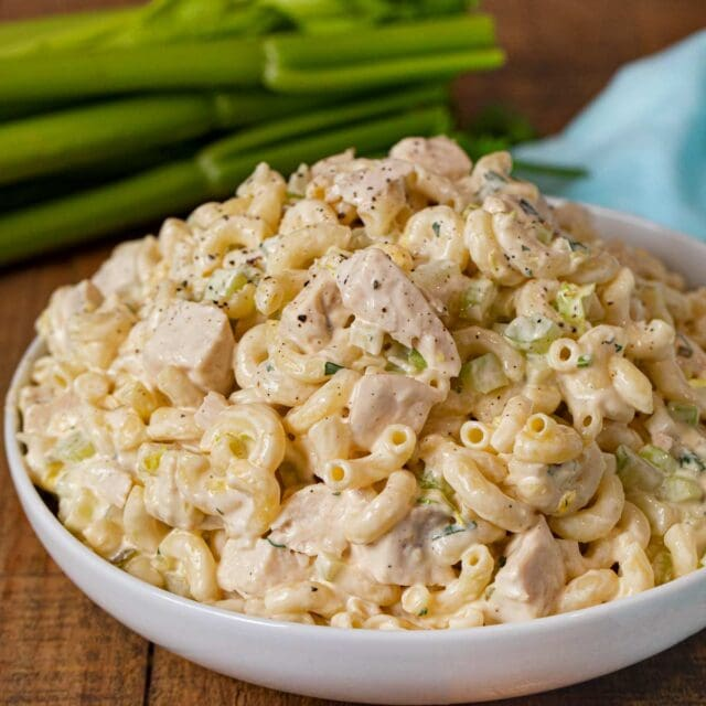 Creamy Chicken Pasta Salad in bowl with celery