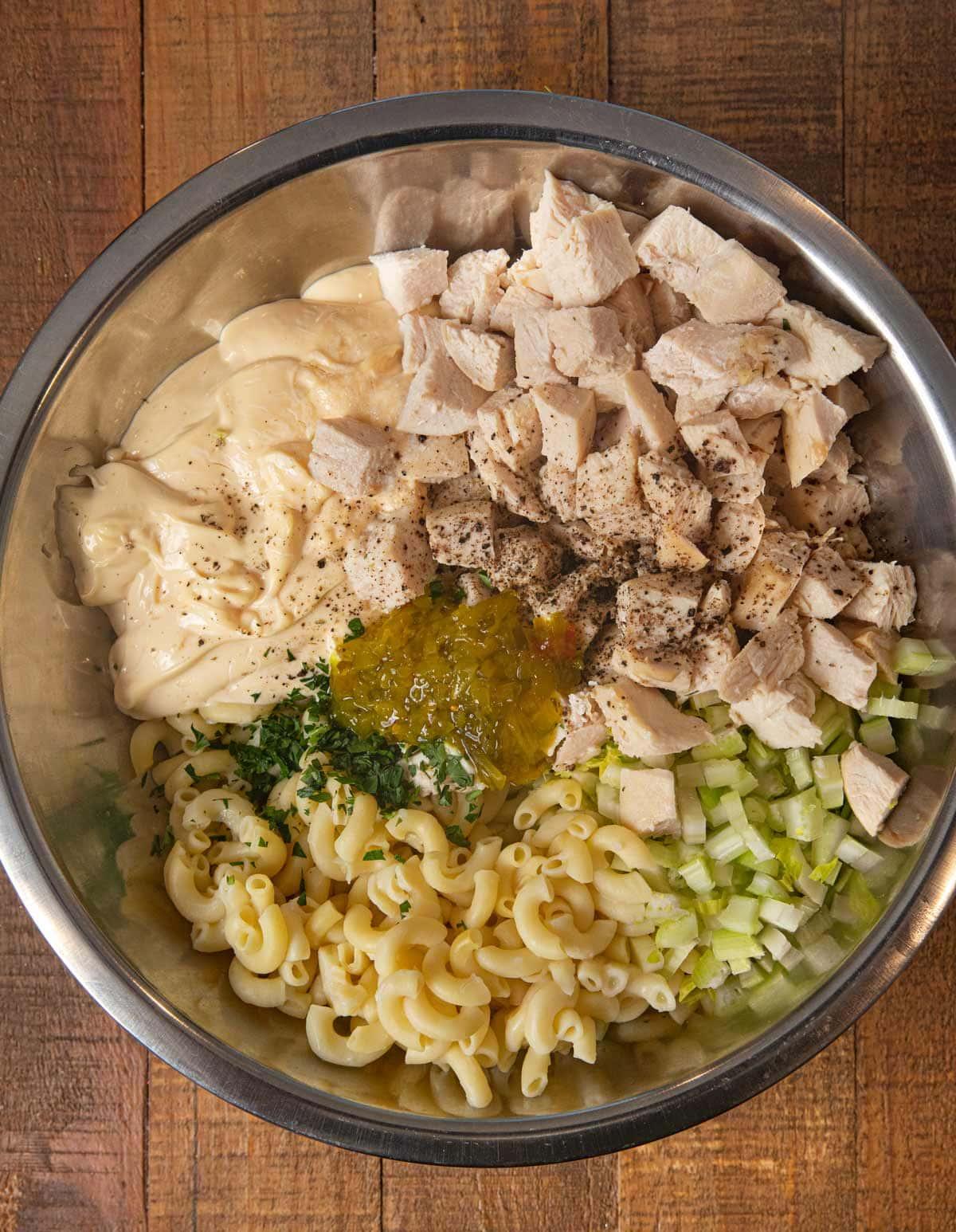 Creamy Chicken Pasta Salad ingredients in mixing bowl
