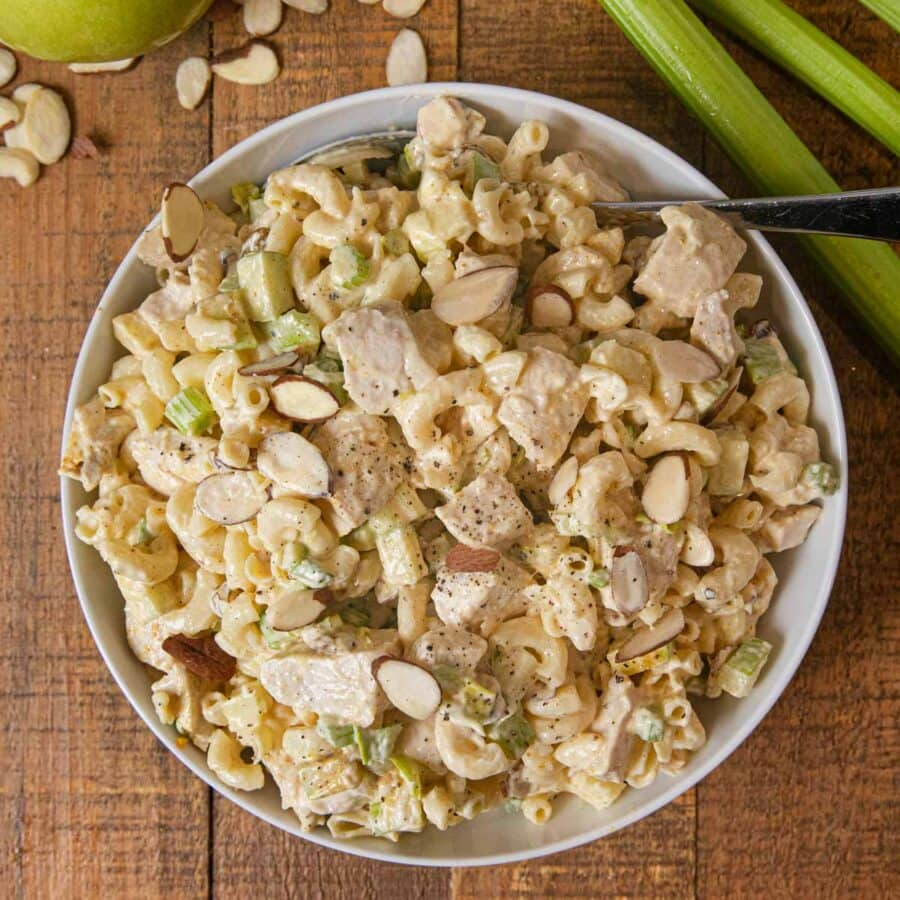 top down photo of Curried Chicken Pasta Salad in white bowl