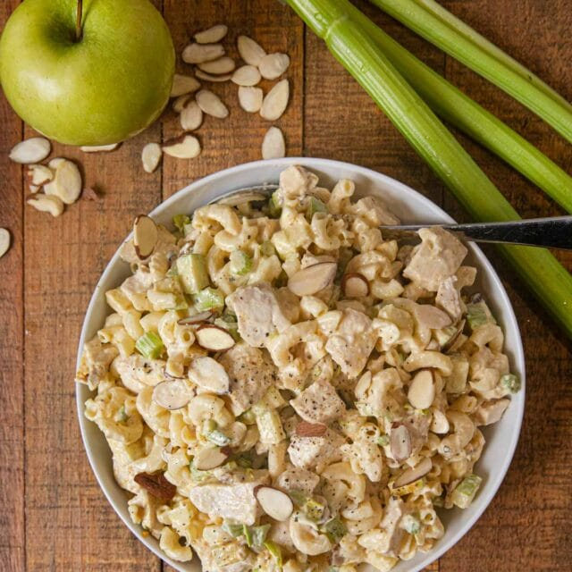 Curried Chicken Pasta Salad with apples and celery
