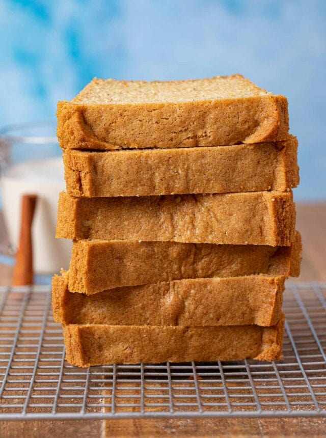 Eggnog Bread slices in stack