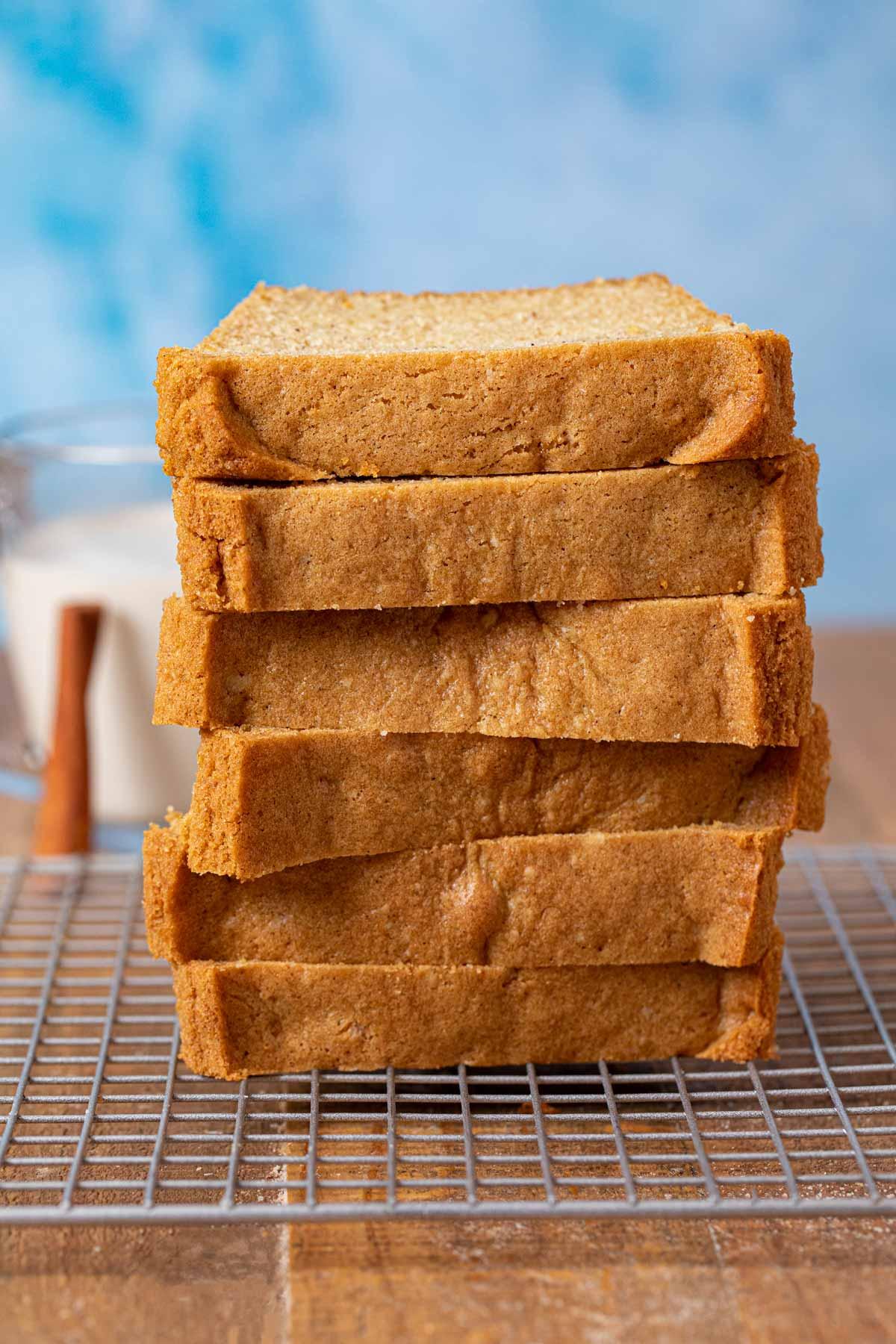 Eggnog Bread slices in stack