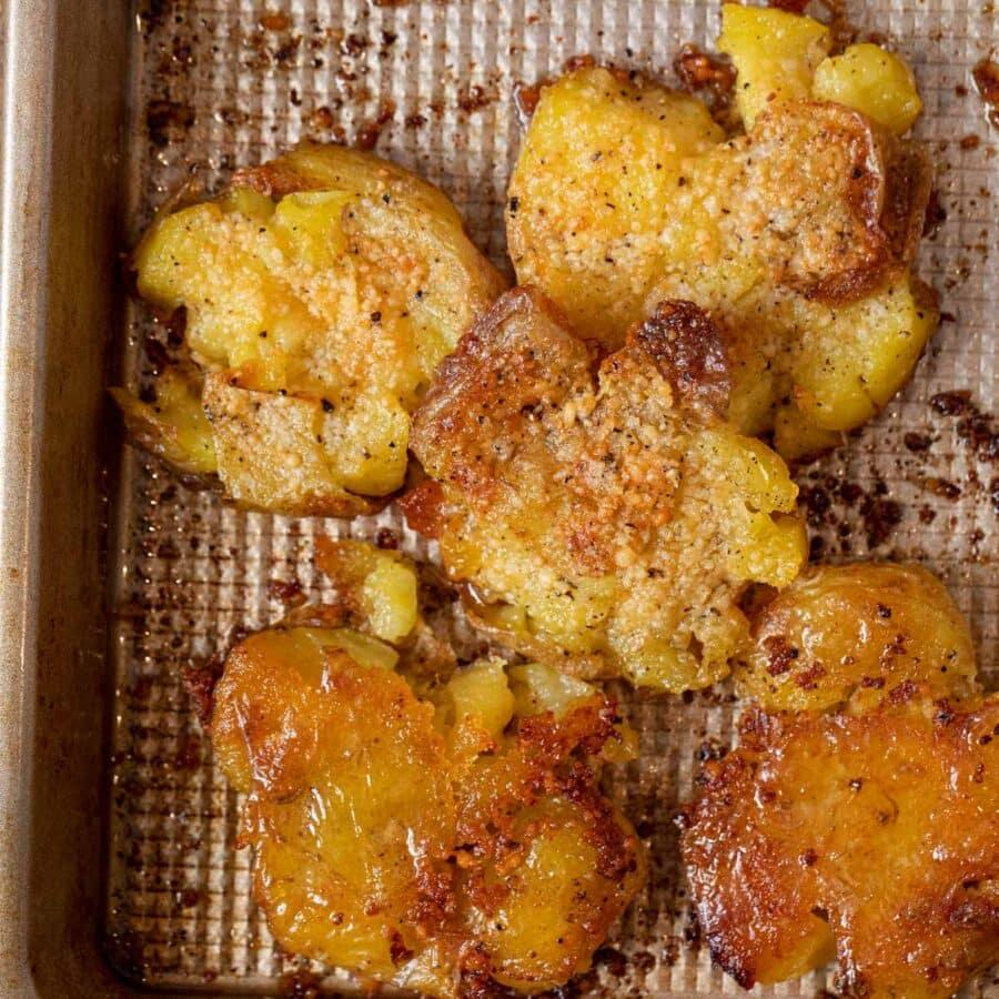 Garlic Smashed Potatoes on baking sheet