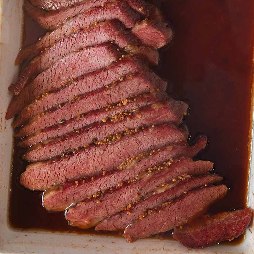 Guinness Corned Beef sliced in baking dish