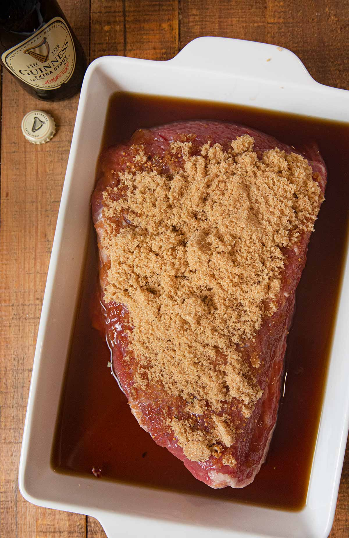 Guinness Corned Beef in baking dish before baking