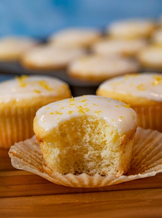 Iced Lemon Muffin with bite removed