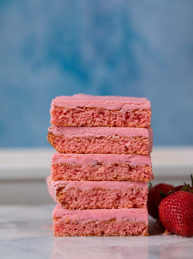 Iced Strawberry Brownies in stack