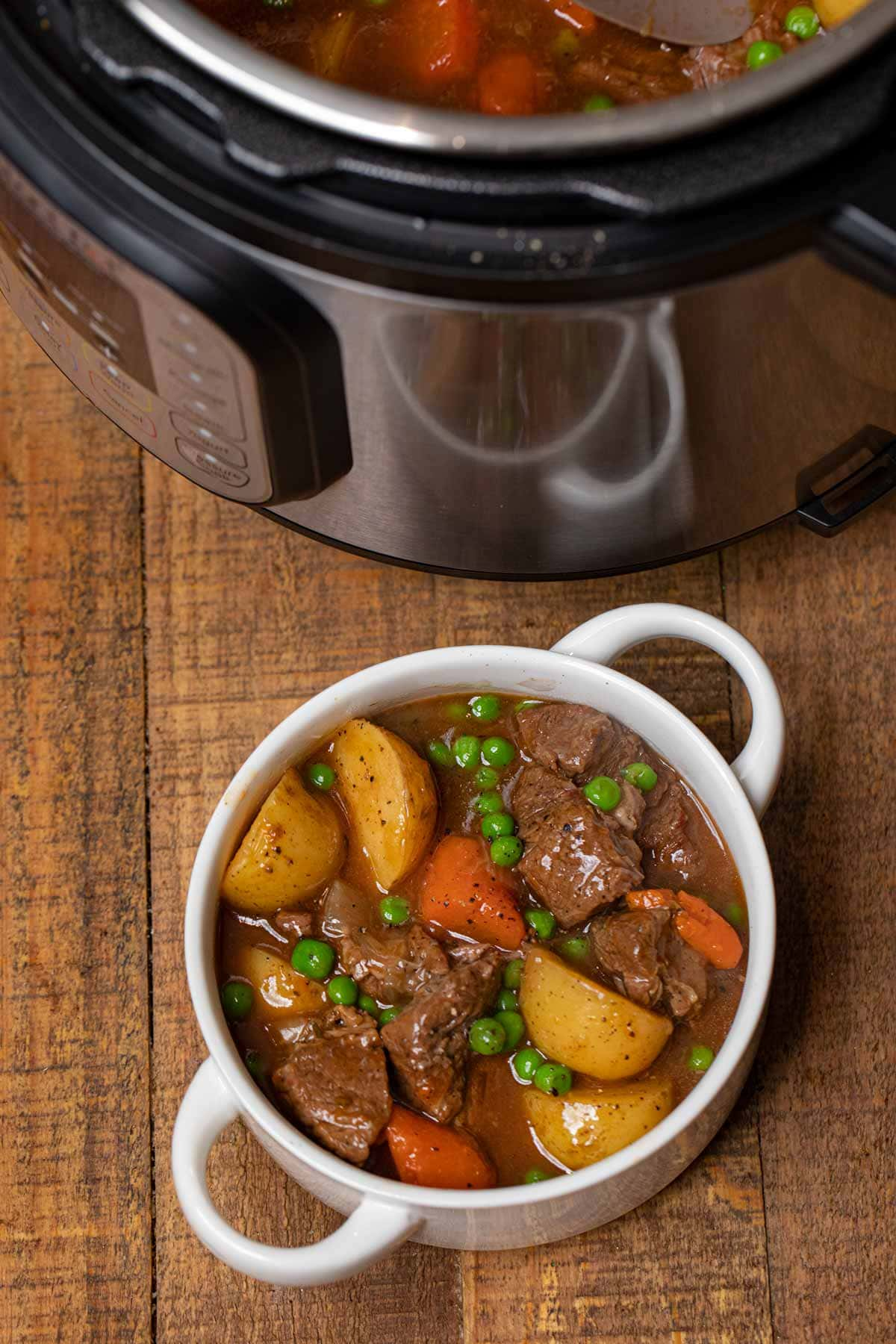 Instant Pot Beef Stew in serving bowl