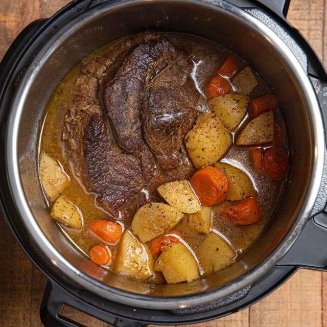 Instant Pot Beef Pot Roast with Vegetables in cooker