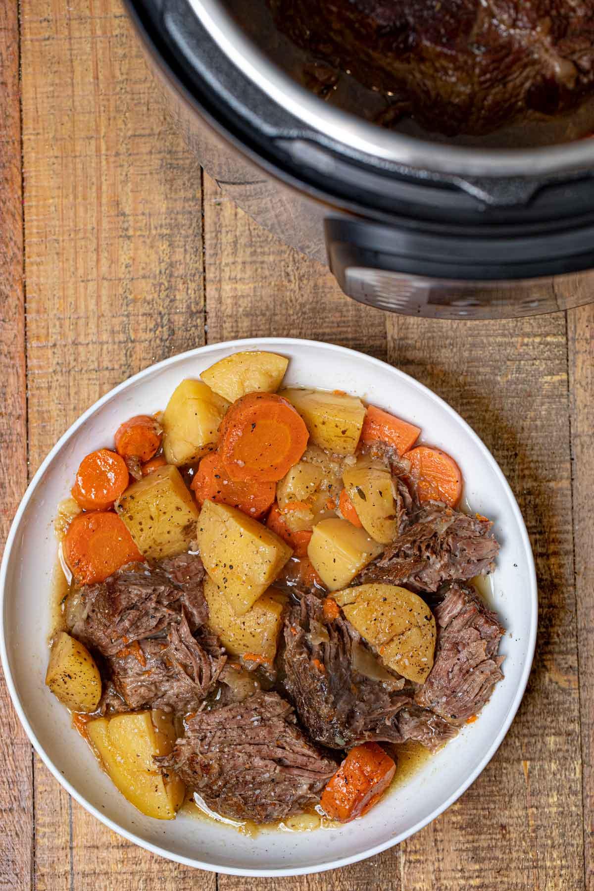 Instant Pot Beef Pot Roast on plate