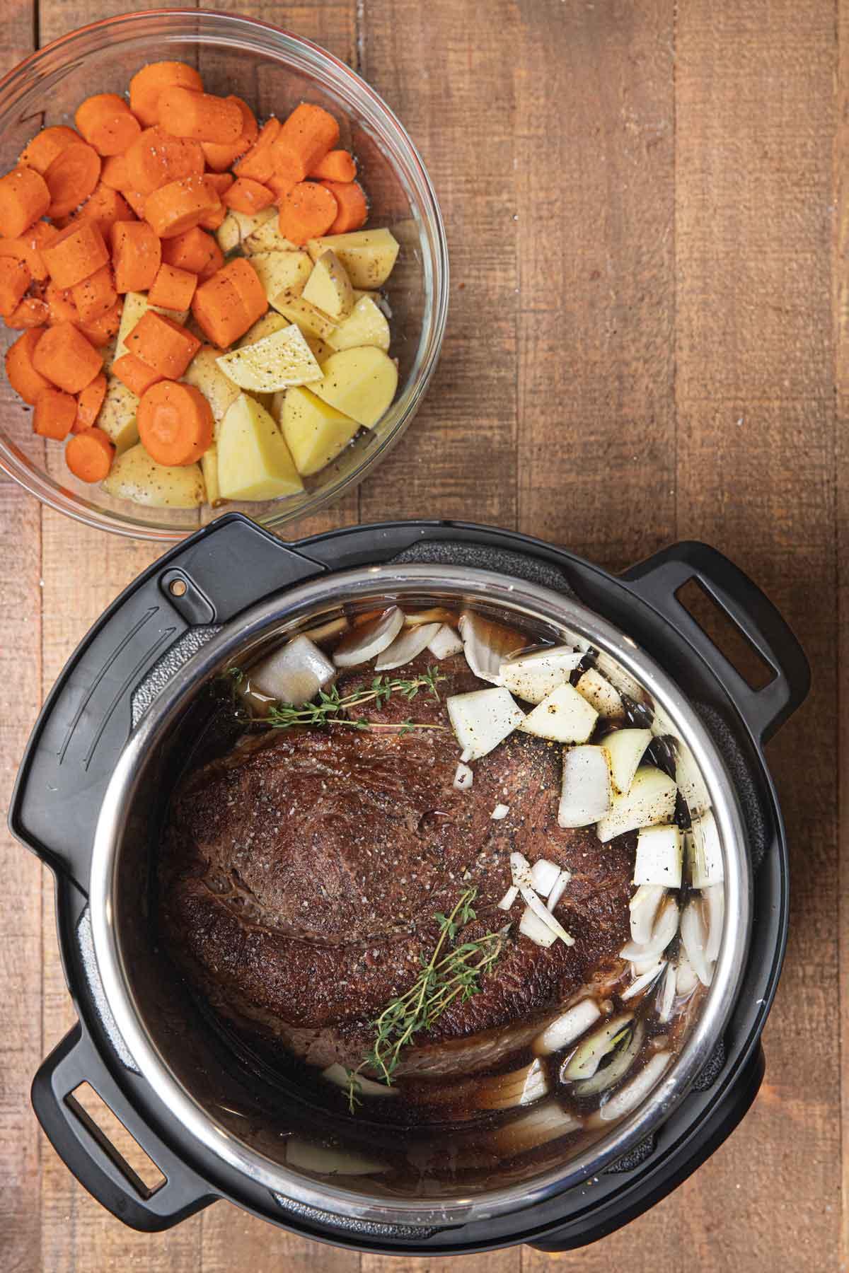 Instant Pot Beef Pot Roast ingredients before cooking