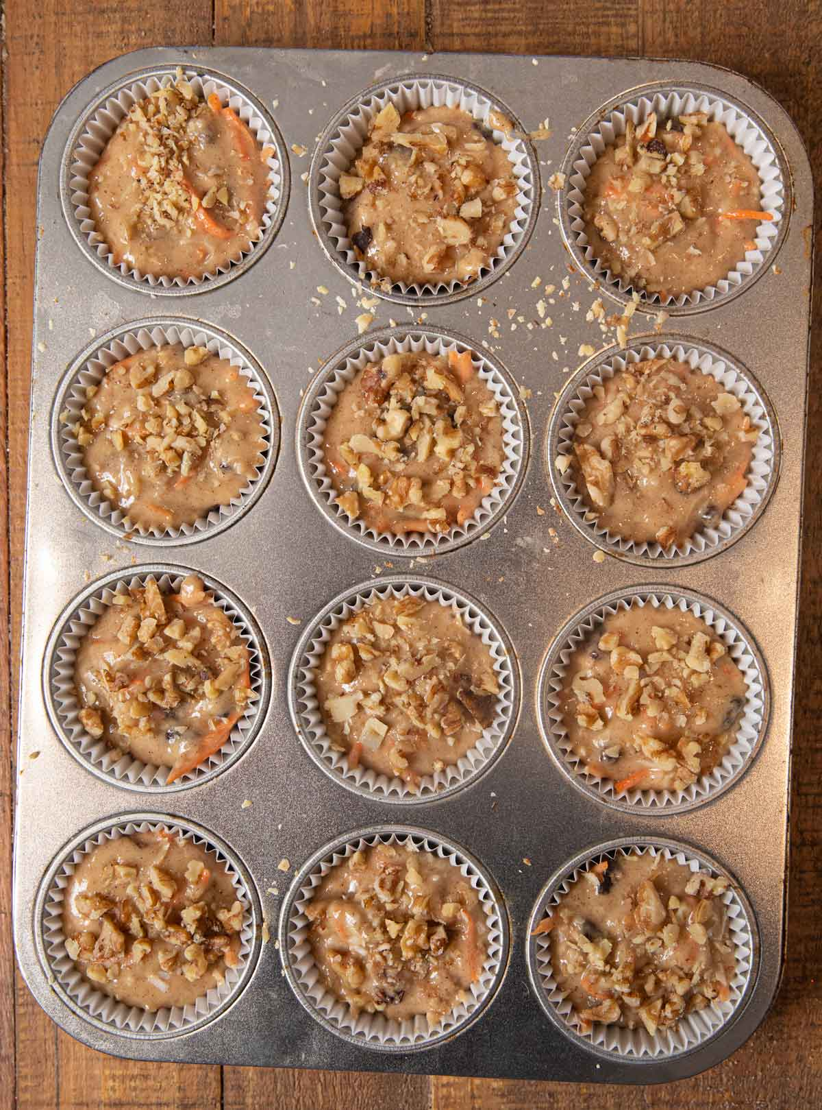 Morning Glory Muffins batter in cupcake tin