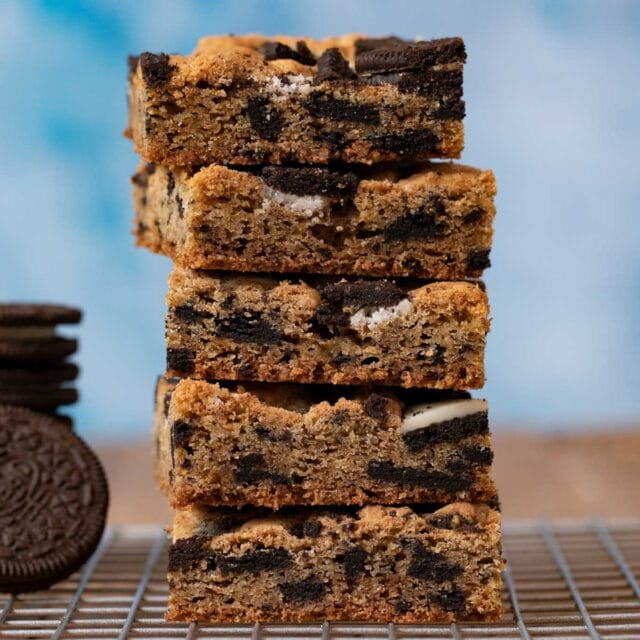 Oreo Blondies in stack
