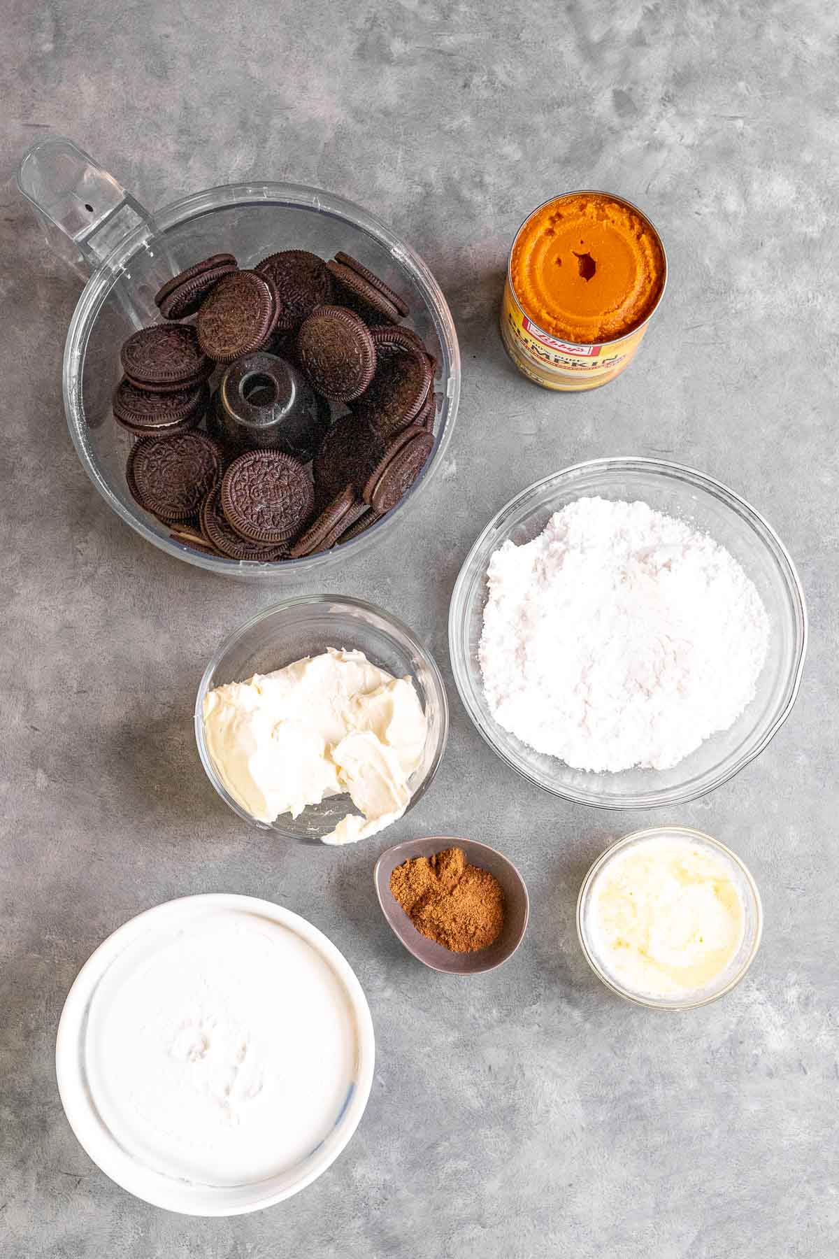 Ingredients for Chocolate Oreo Pumpkin Whip Pie
