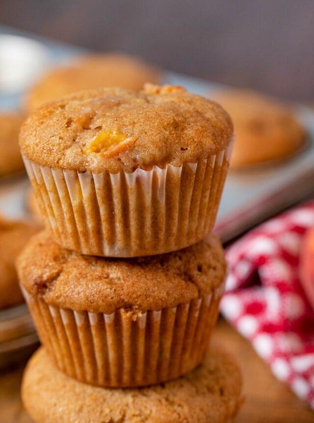 Peach Muffins in stack