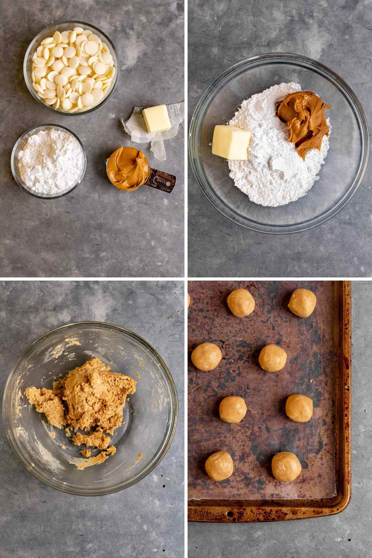 Peanut Butter Snowballs collage of prep steps