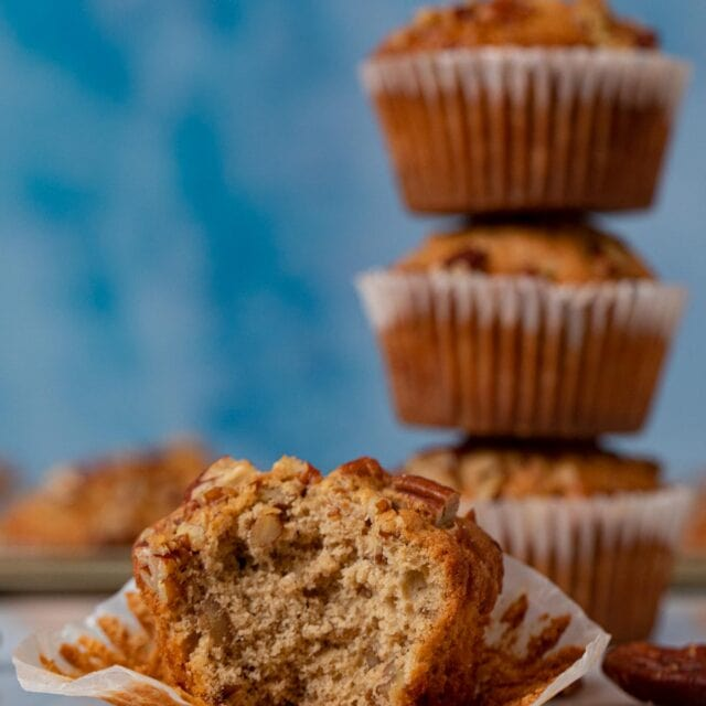 Pecan Muffin with bite removed