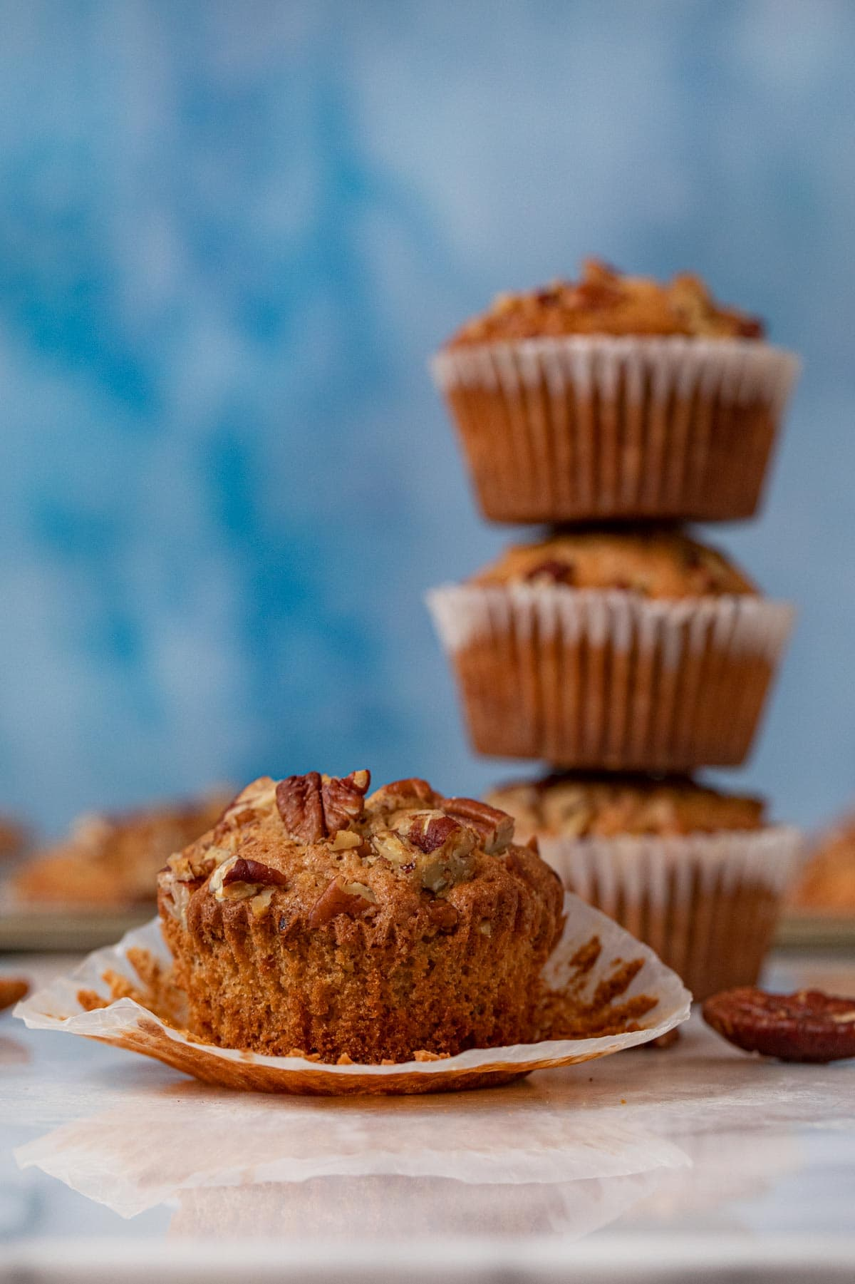 side view of Pecan Muffins