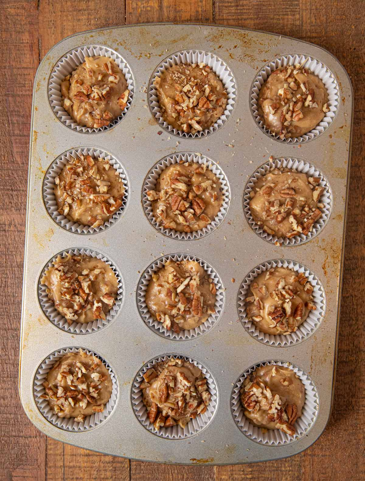 Pecan Muffins batter in cupcake tin