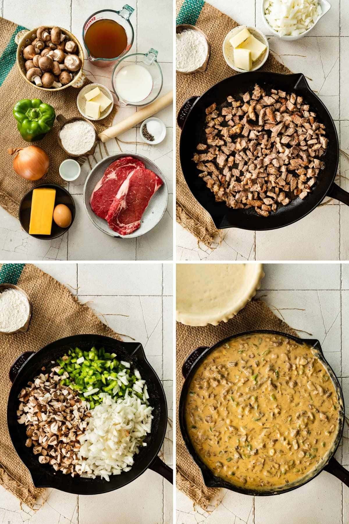 Collage of filling prep steps for Philly Cheesesteak Pot Pie