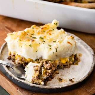 Philly Cheesesteak Shepherd's Pie served on a plate