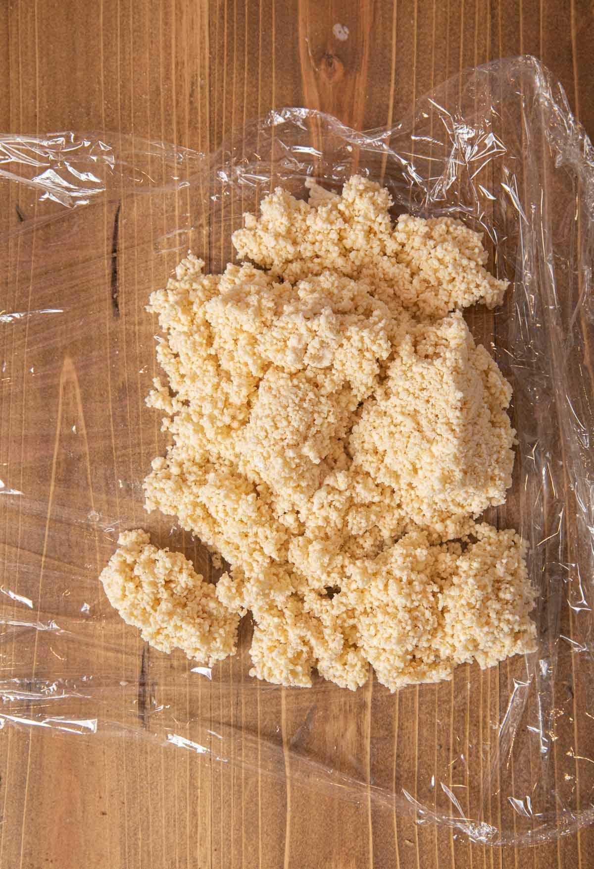 Pie Crust dough on saran wrap