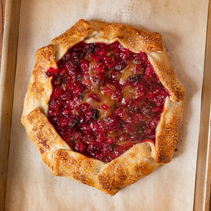 Rustic Cranberry Tart on baking sheet