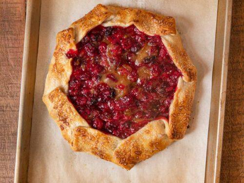 Rustic Cranberry Tart on baking sheet