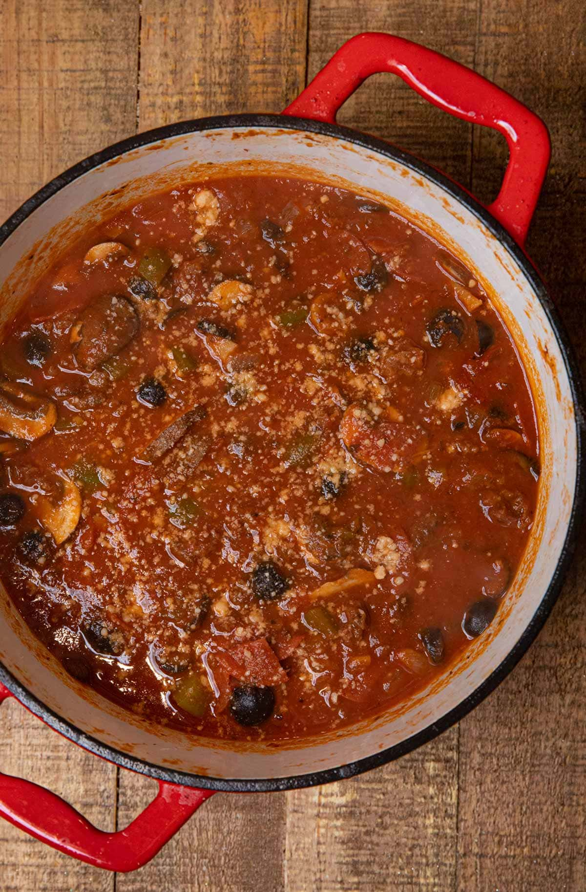 Sausage Combo Pizza Soup in pot