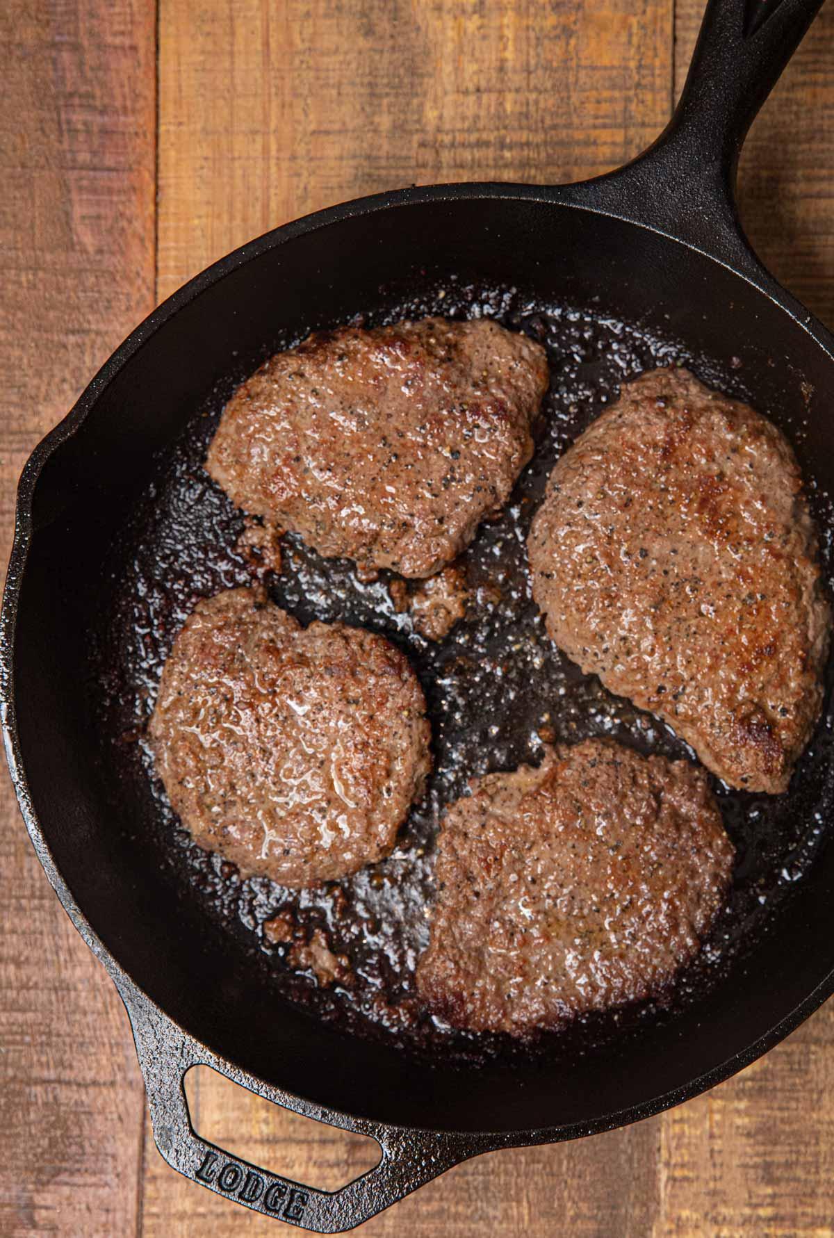 Seared Cube Steaks in skillet