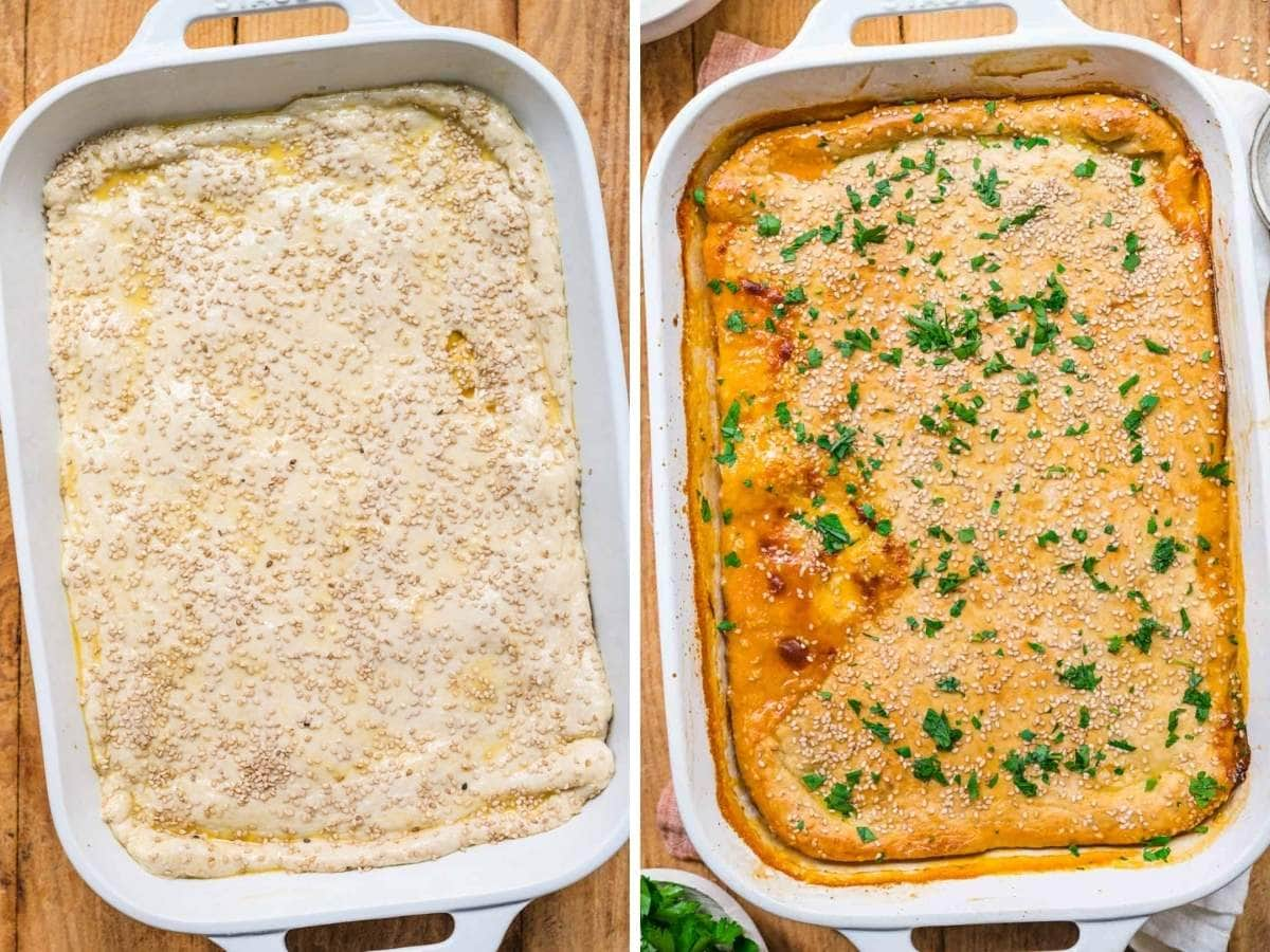 Sloppy Joe Casserole in baking dish before and after baking