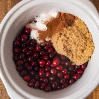 Slow Cooker Cranberry Sauce ingredients in crockpot