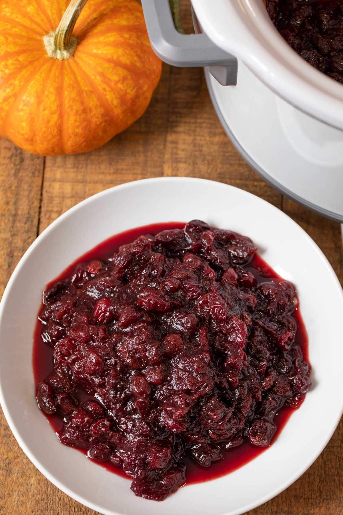 Slow Cooker Cranberry Sauce in serving bowl