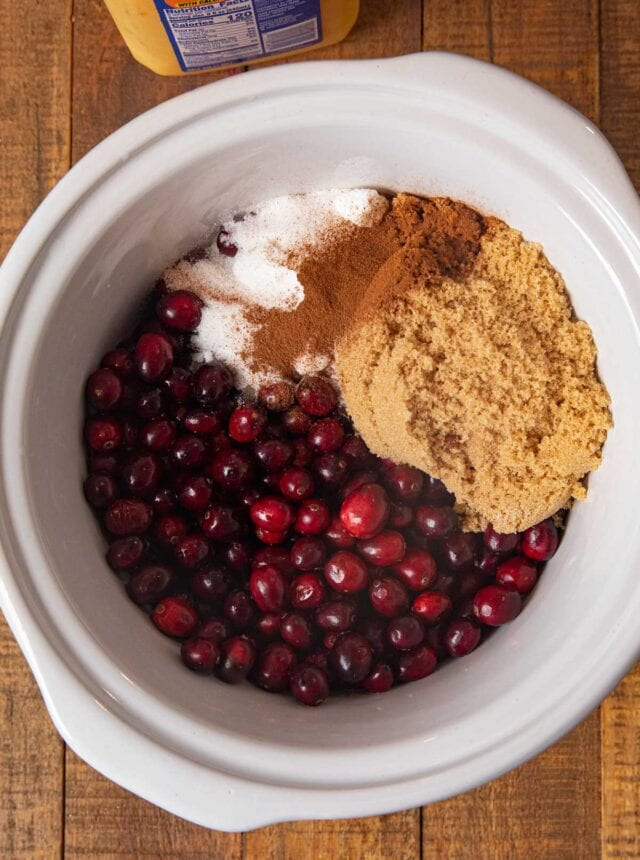 Slow Cooker Cranberry Sauce ingredients in crockpot