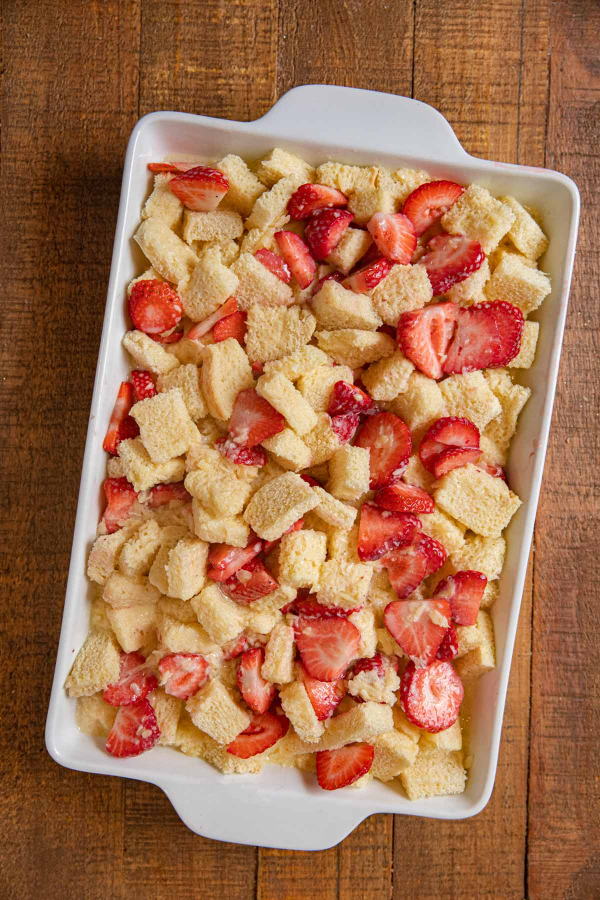 Strawberry Nutella Bread Pudding in baking dish before baking