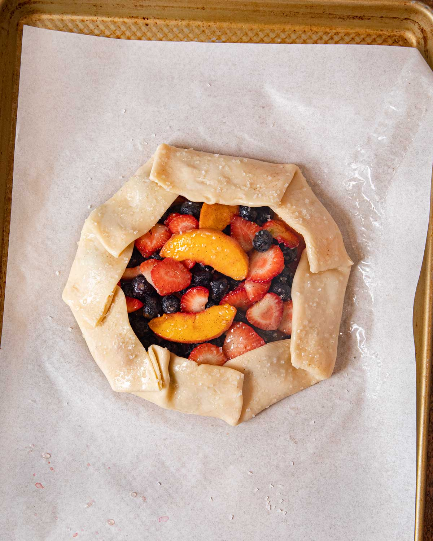 Summer Fruit Galette on baking sheet before baking