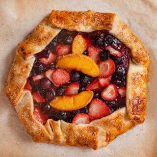 Summer Fruit Galette on baking sheet