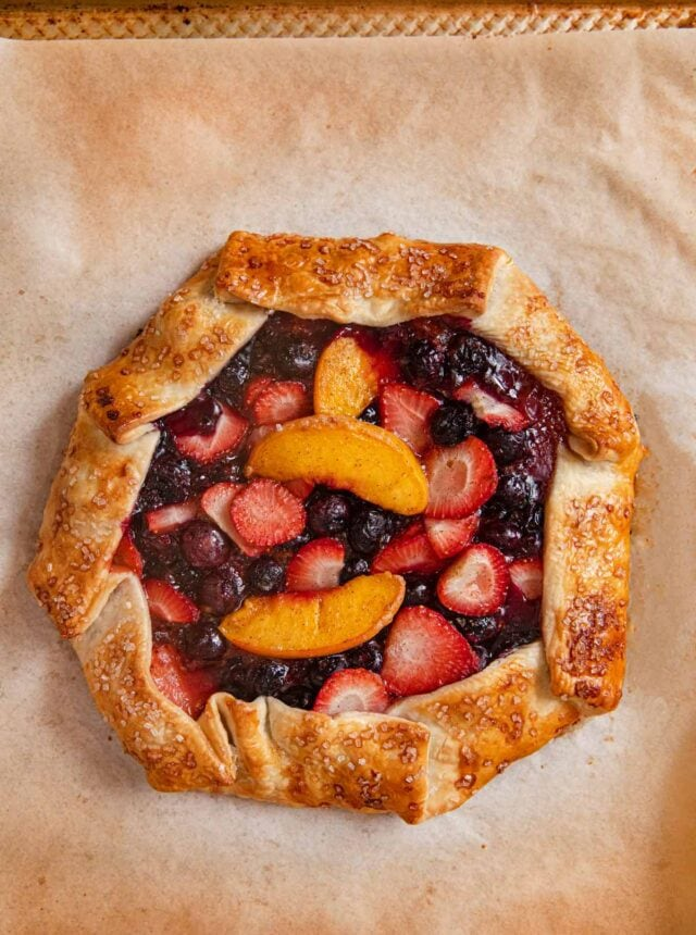 Summer Fruit Galette on baking sheet