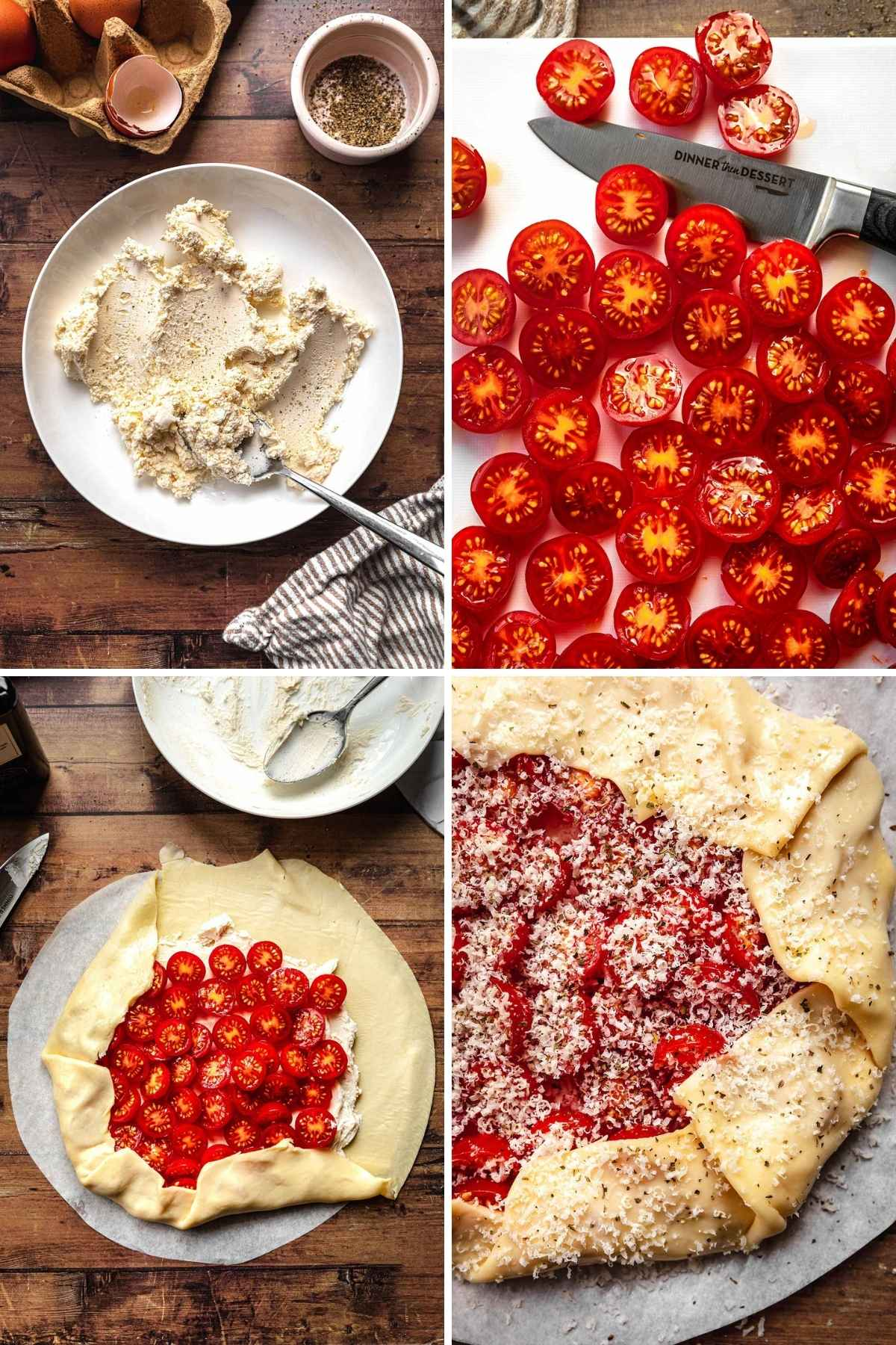 Tomato Goat Cheese Galette Collage