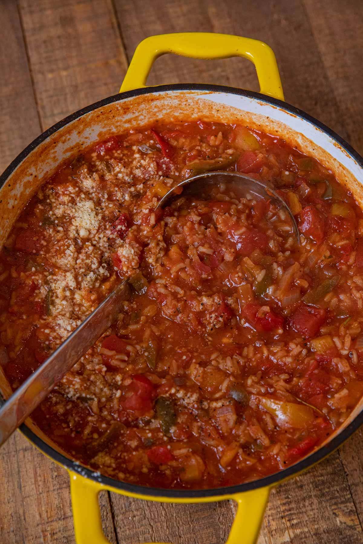 Vegetarian Stuffed Pepper Soup in pot