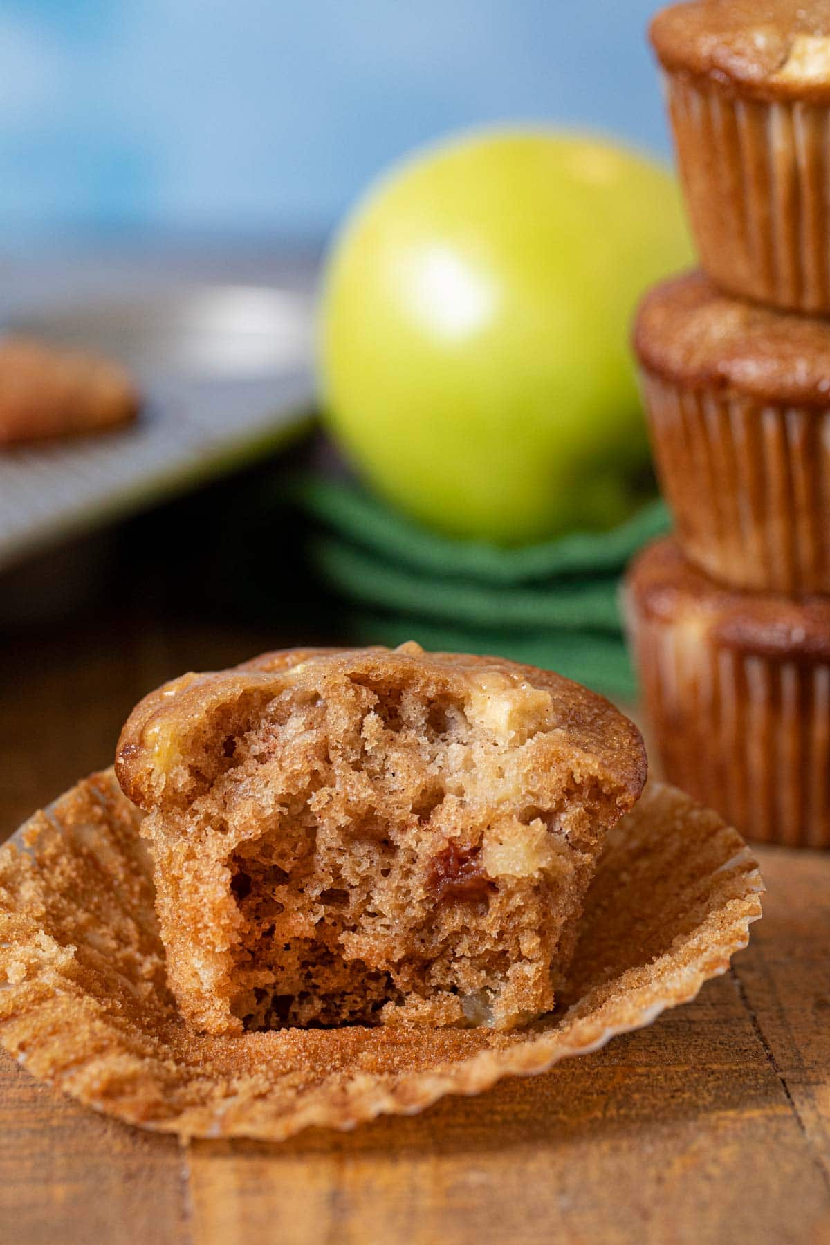 Apple Muffin with bite taken