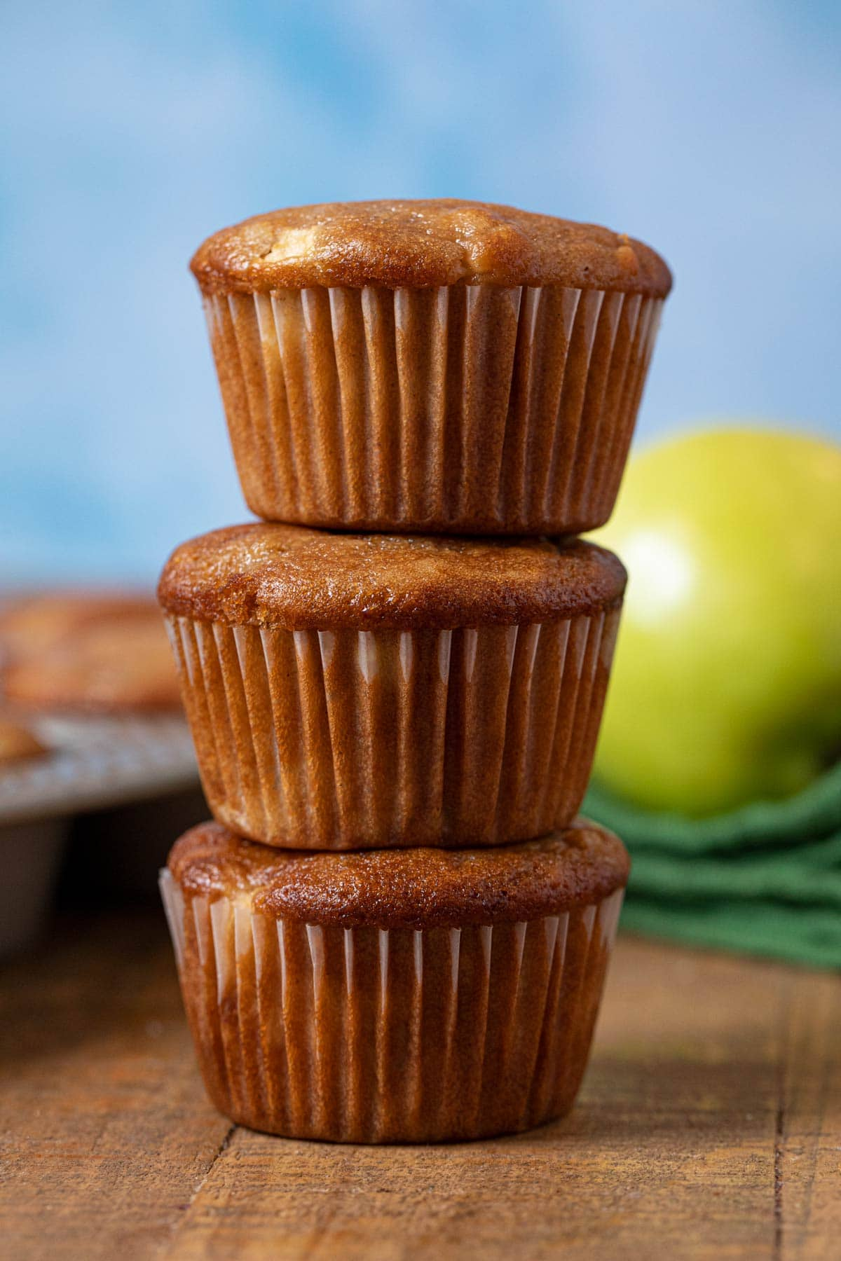 Apple Muffins in stack
