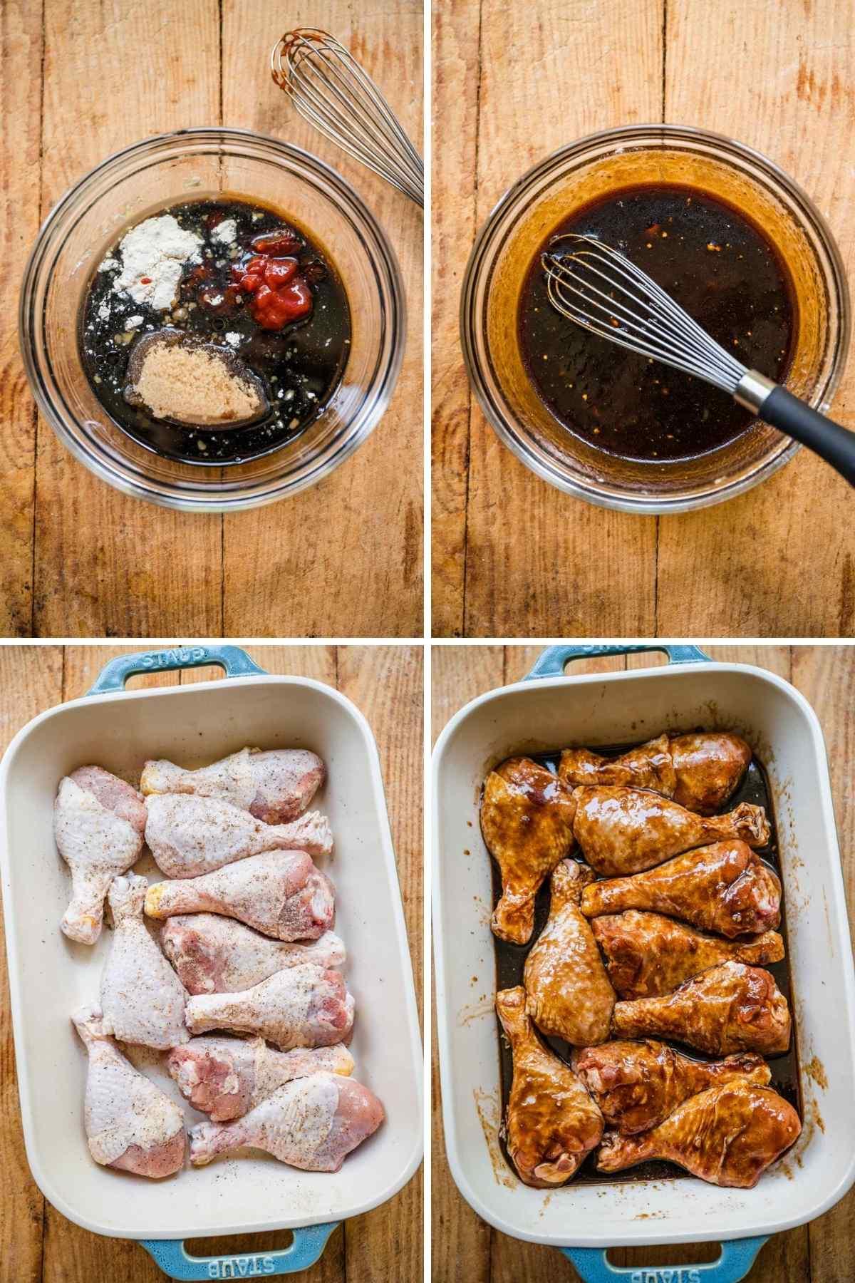 Brown Sugar Garlic Baked Chicken Legs Collage of prep steps