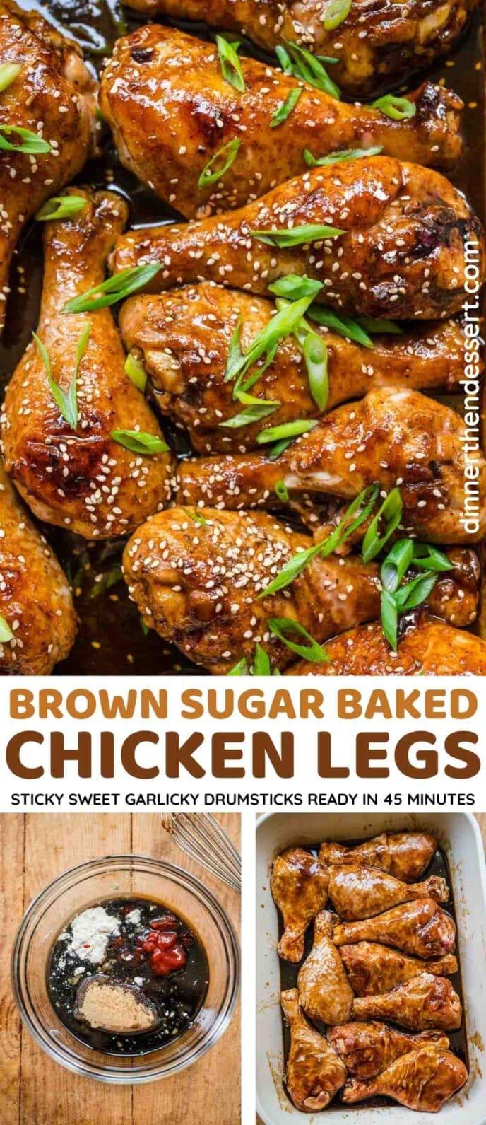 Brown Sugar Garlic Baked Chicken Legs Collage