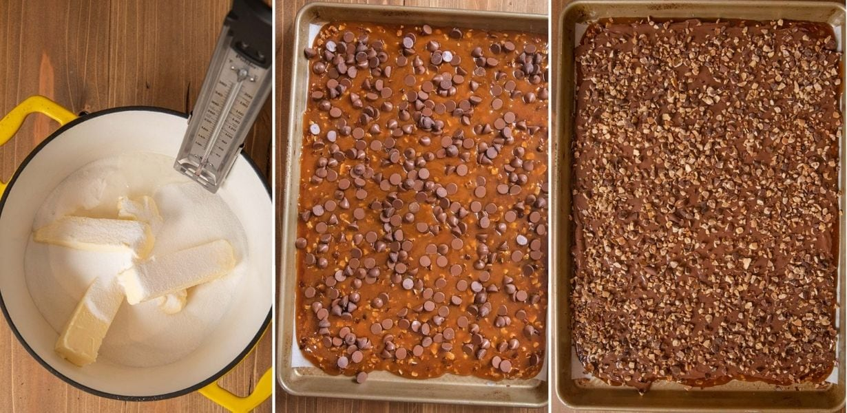 Butter Toffee collage of prep steps