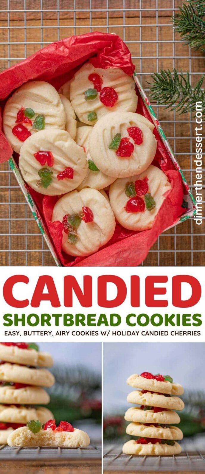 Candied Shortbread Cookies collage